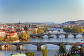 Blick über Prag und die Moldau