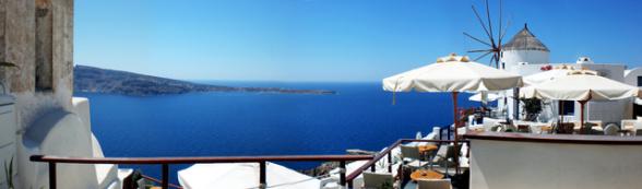 Ausblick auf das Mittelmeer von Santorini
